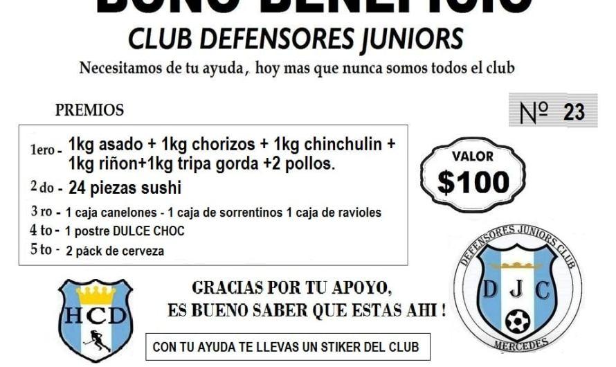 Defensores Junior y Club Mercedes salen a la venta para recaudar fondos