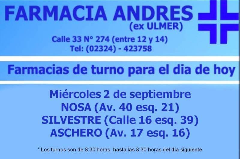 Farmacias de turno día miércoles 2 de septiembre