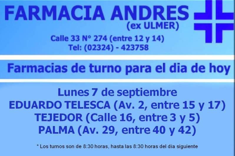 Farmacias de turno día lunes 7 de septiembre