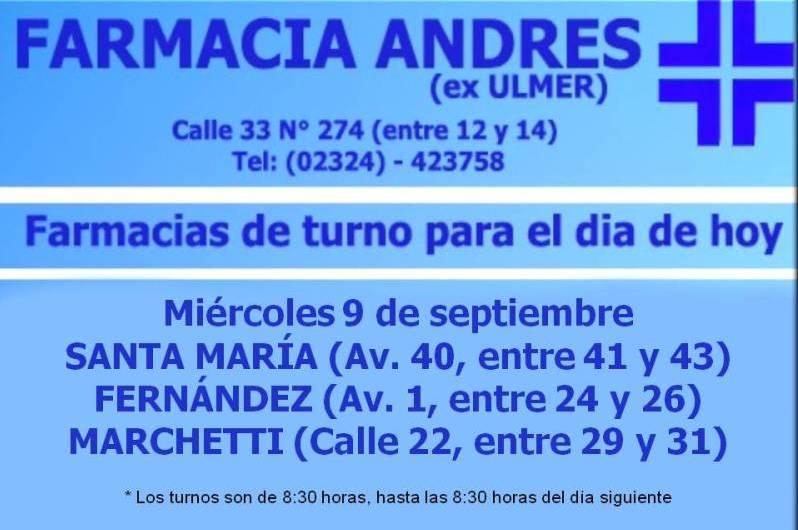 Farmacias de turno día miércoles 9 de septiembre