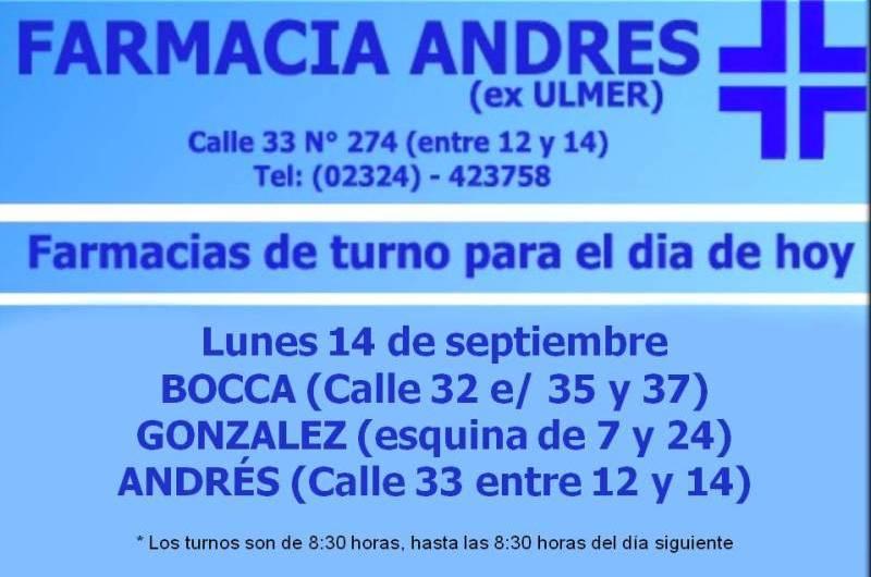 Farmacias de turno día lunes 14 de septiembre