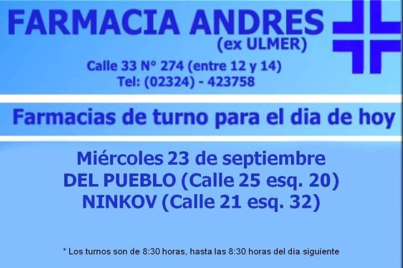 Farmacias de turno día miércoles 23 septiembre