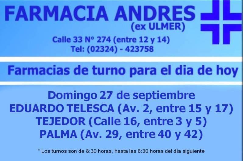Farmacias de turno día domingo 27 de septiembre