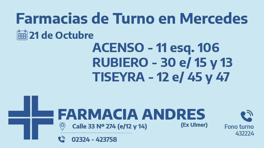 Farmacias de turno del miércoles 21 de octubre