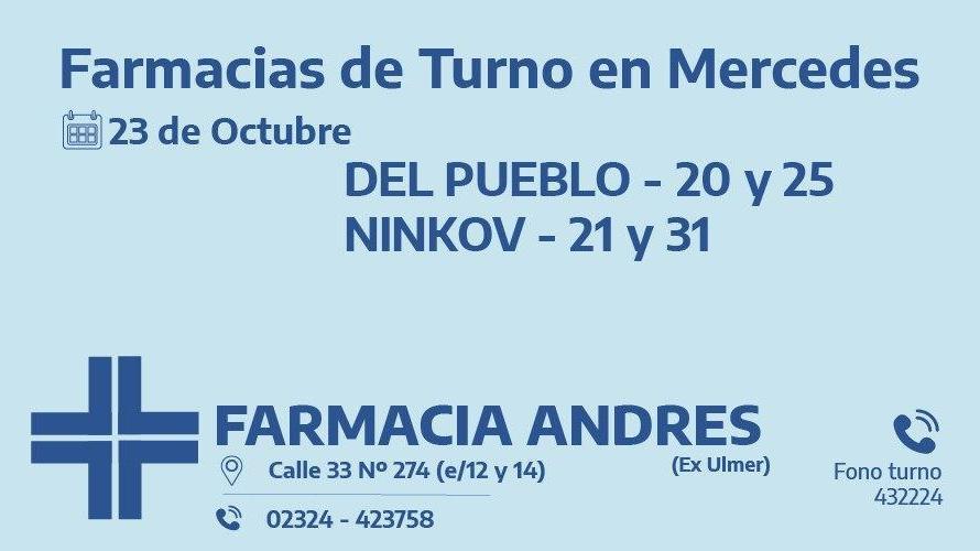 Farmacias de turno del viernes 23 de octubre
