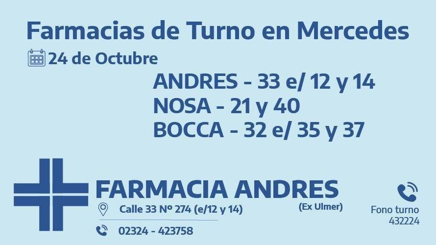 Farmacias de turno del sábado 24 de octubre