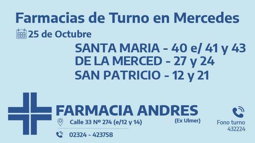 Farmacias de turno del domingo 25 de octubre