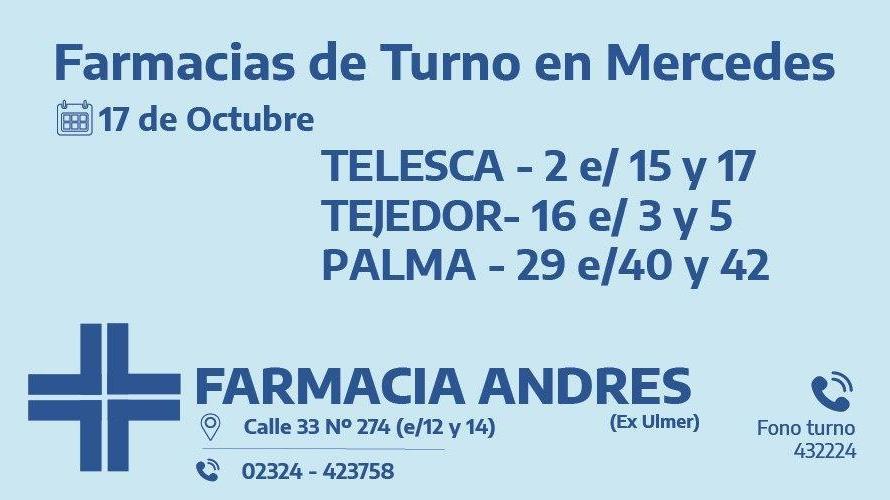 Farmacias de turno del sábado 17 de octubre