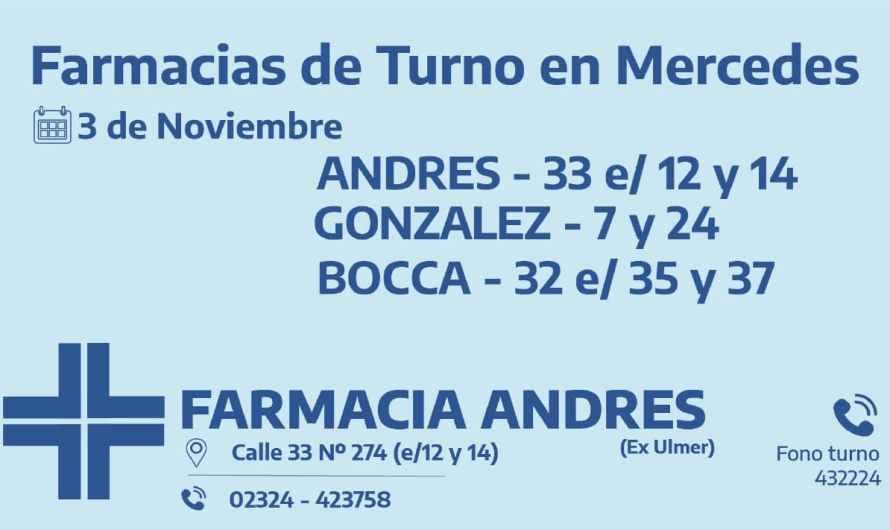 Farmacias de turno del martes 3 de noviembre