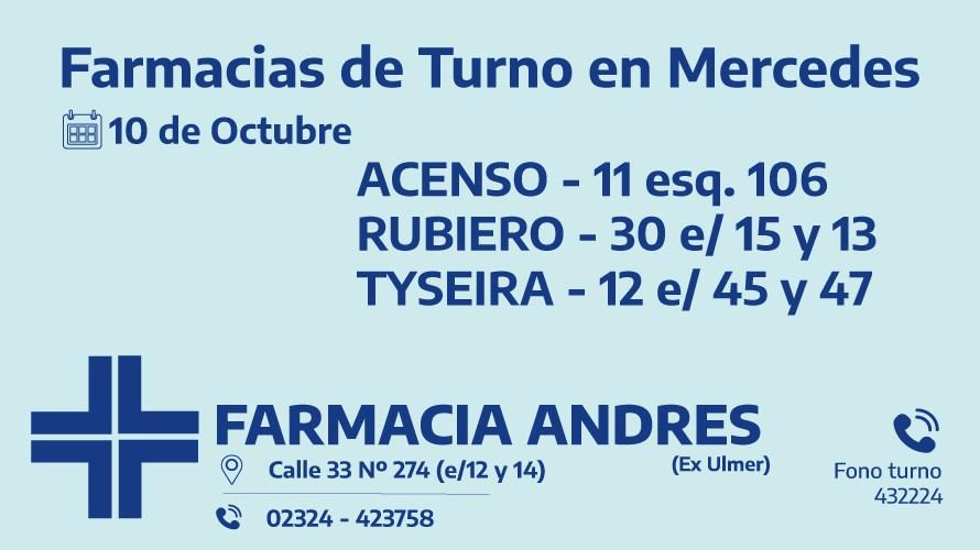Farmacias de turno del martes 10 de noviembre