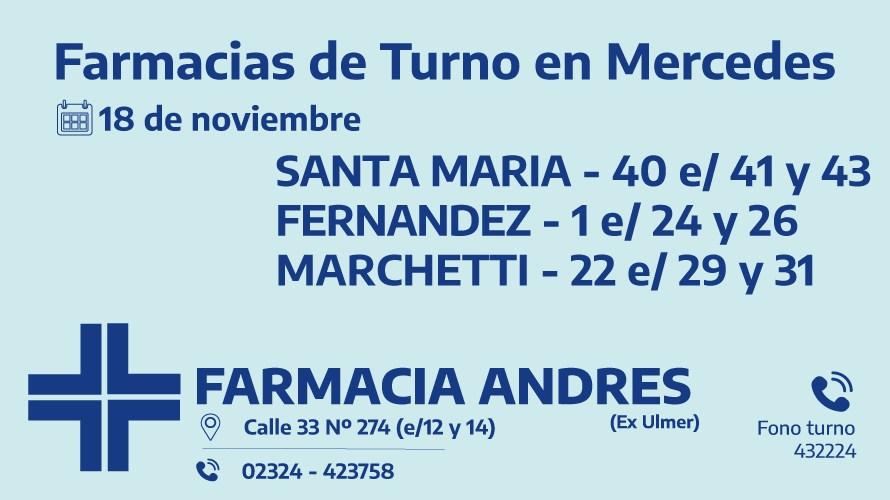 Farmacias de turno del miércoles 18 de noviembre