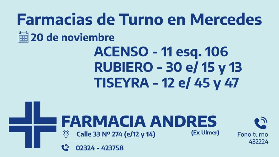 Farmacias de turno del viernes 20 de noviembre