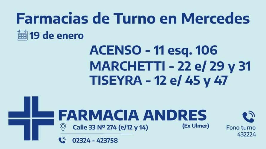 Farmacias de turno del martes 19 de enero
