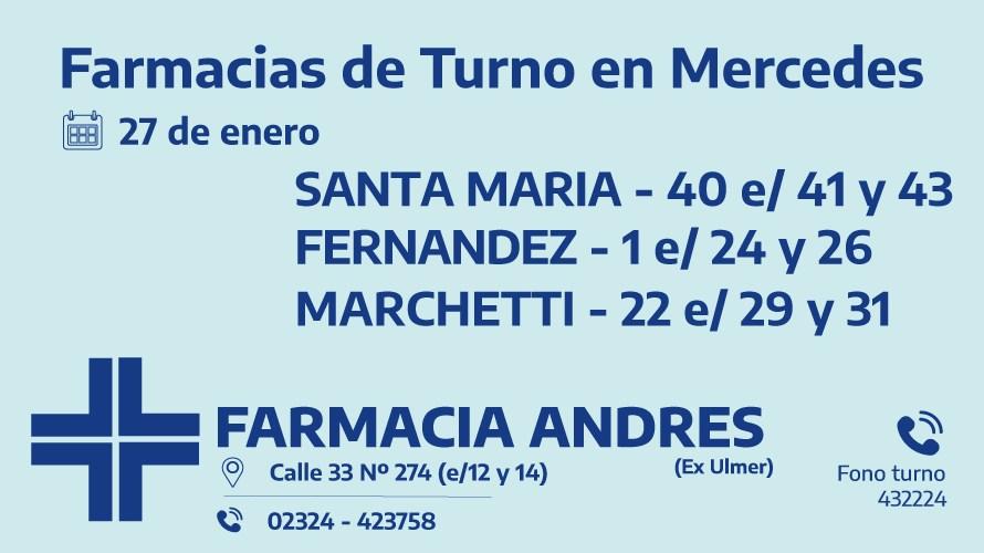 Farmacias de turno del miércoles 27 de enero