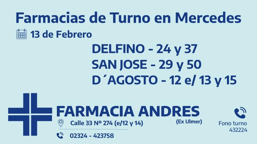 Farmacias de turno del sábado 13 de febrero