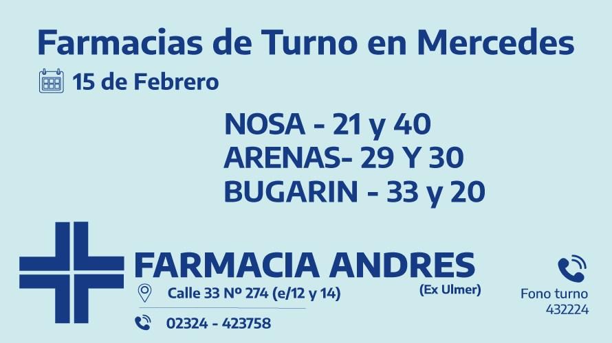 Farmacias de turno del lunes 15 de febrero