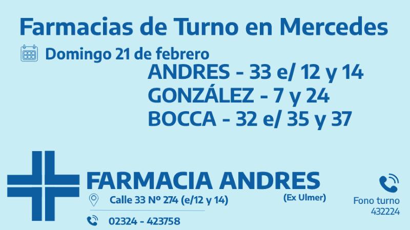 Farmacias de turno del domingo 21 de febrero