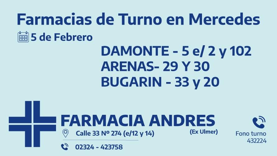 Farmacias de turno día viernes 5 de febrero