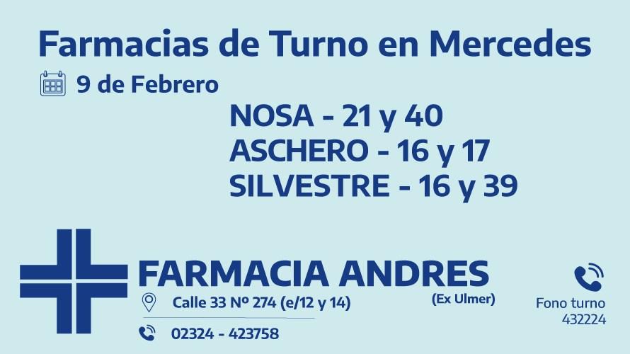 Farmacias de turno del martes 9 de febrero