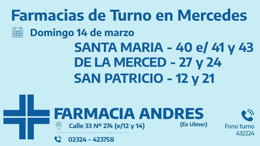 Farmacias de turno del domingo 14 de marzo