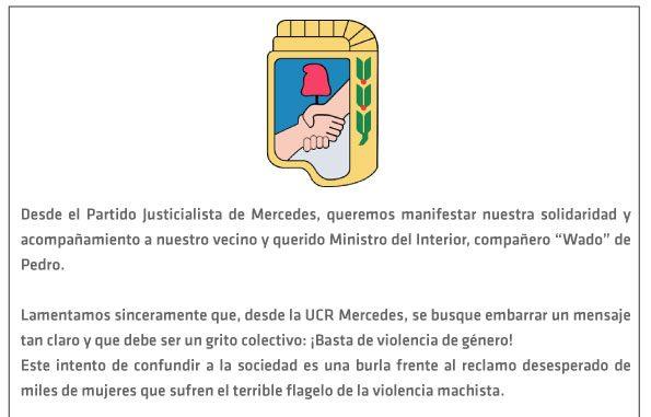 PJ Mercedes manifiesta su apoyo al ministro Eduardo de Pedro