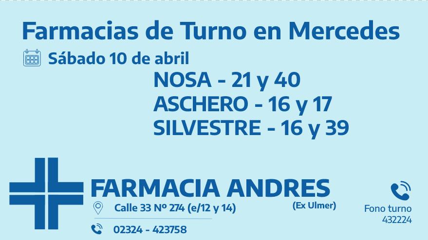 Farmacias de turno del sábado 10 de abril