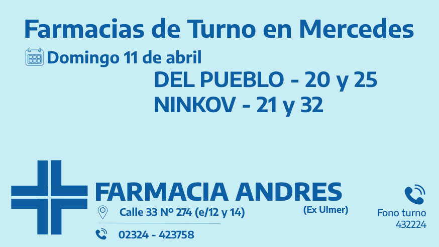 Farmacias de turno del domingo 11 de abril