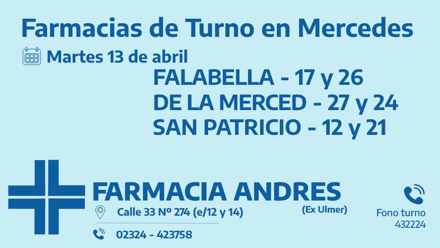 Farmacias de turno del martes 13 de abril
