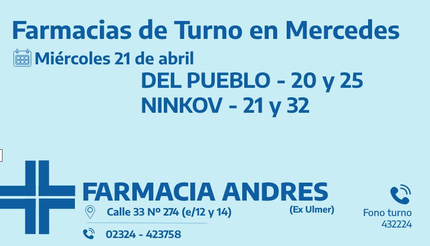 Farmacias de turno del miércoles 21 de abril