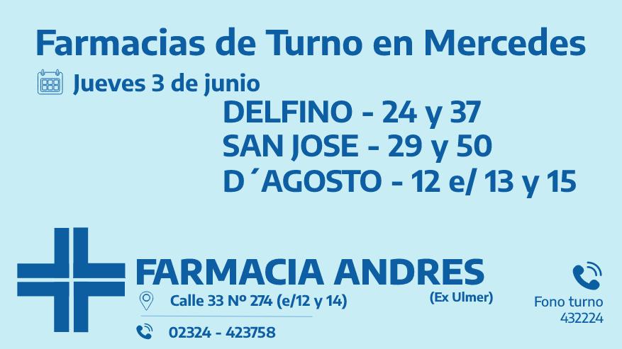 Farmacias de turno del jueves 3 de junio