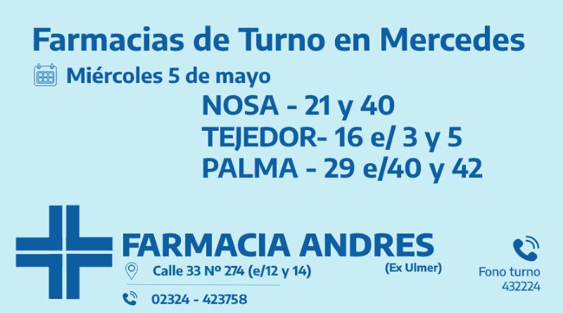 Farmacias de turno del miércoles 5 de mayo