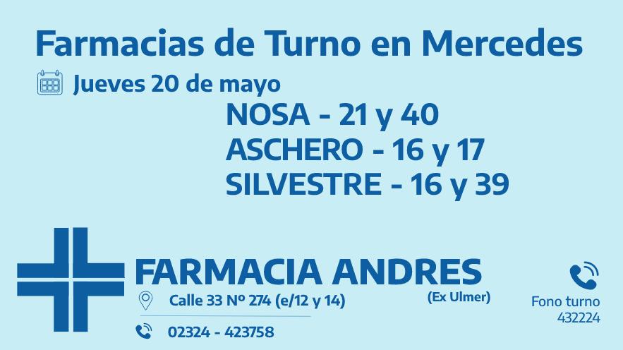 Farmacias de turno del jueves 20 de mayo