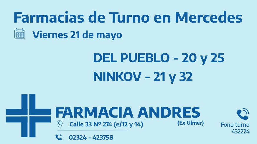 Farmacias de turno del viernes 21 de mayo