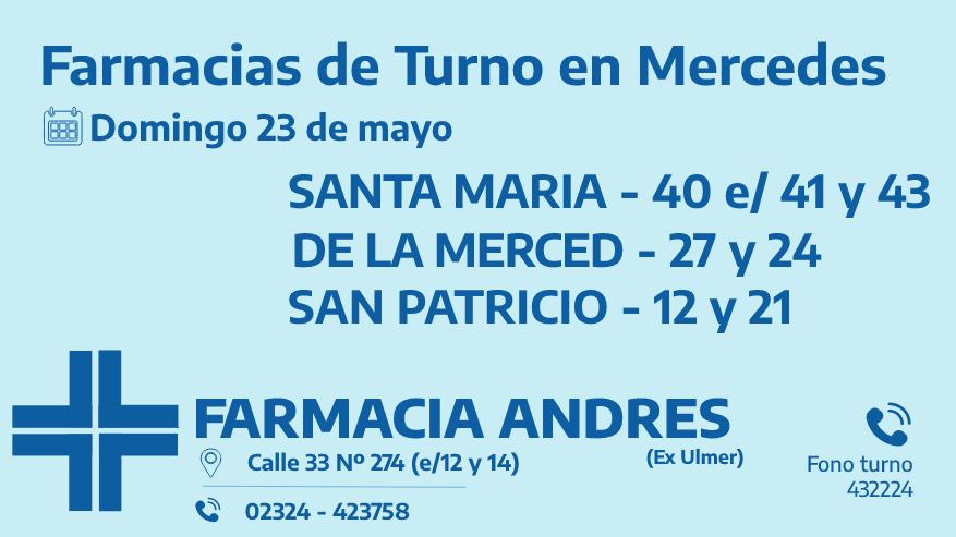 Farmacias de turno del domingo 23 de mayo