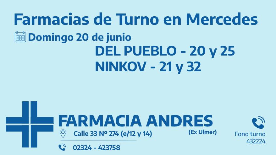 Farmacias de turno del domingo 20 de junio