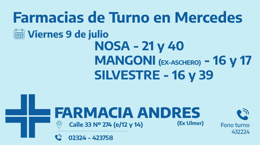 Farmacias de turno del viernes 9 de julio