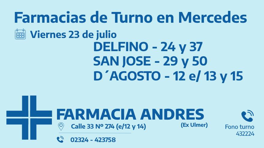 Farmacias de turno del viernes 23 de julio