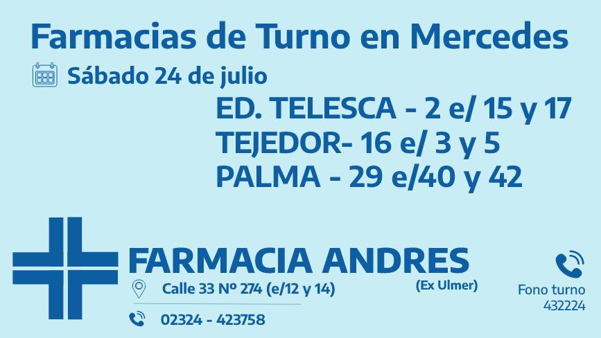 Farmacias de turno del sábado 24 de julio