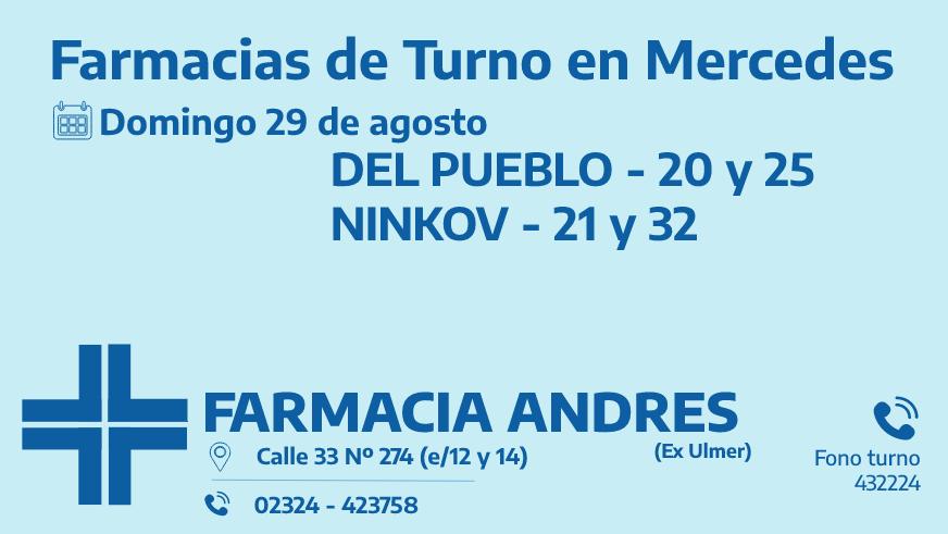 Farmacias de turno del domingo 29 de agosto