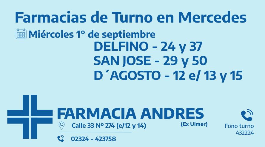 Farmacias de turno del miércoles 1° de septiembre