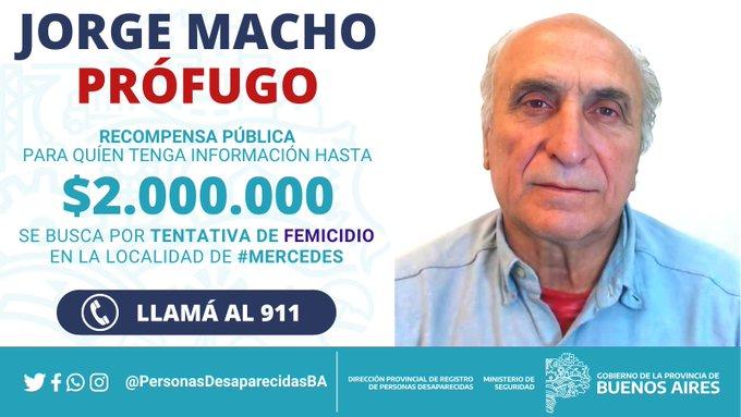 Recompensa de hasta 2 millones de pesos por el prófugo Jorge Macho