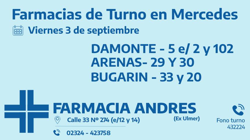 Farmacias de turno del viernes 3 de septiembre