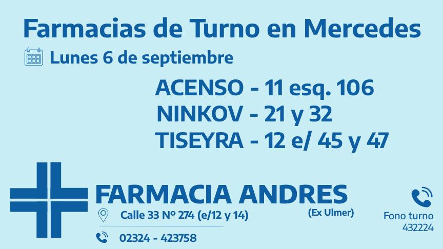 Farmacias de turno del lunes 6 de septiembre