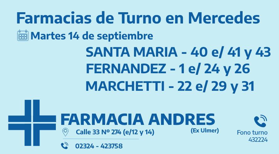 Farmacias de turno del martes 14 de septiembre