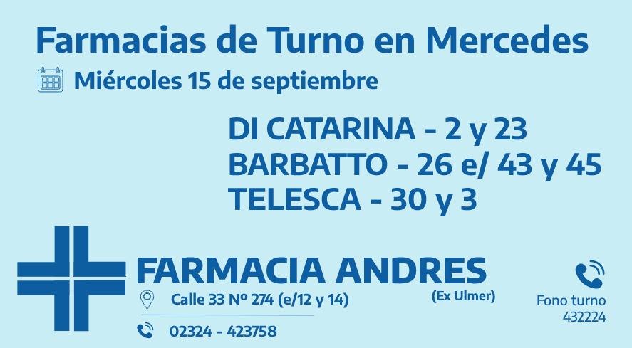 Farmacias de turno del miércoles 15 de septiembre