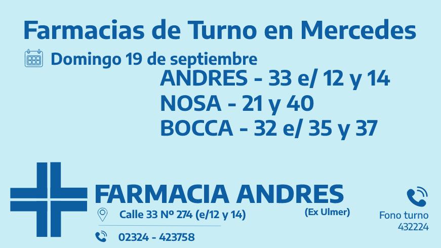 Farmacias de turno del domingo 19 de septiembre