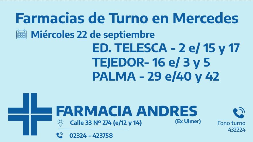 Farmacias de turno del miércoles 22 de septiembre