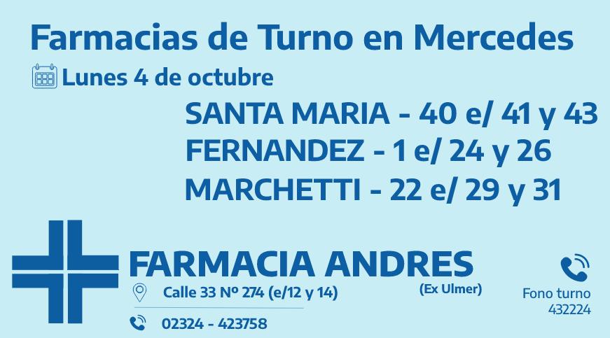 Farmacias de turno del lunes 4 de octubre