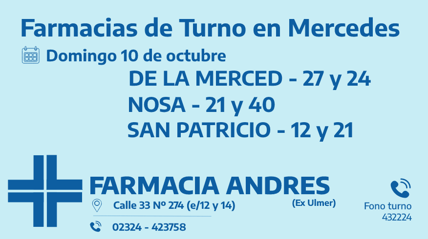 Farmacias de turno del domingo 10 de octubre