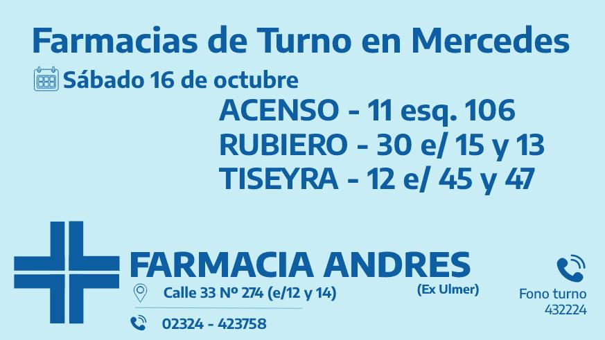 Farmacias de turno del sábado 16 de octubre